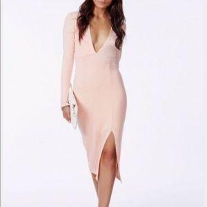 Missguided Deep V Jersey Fabric Dress Blush